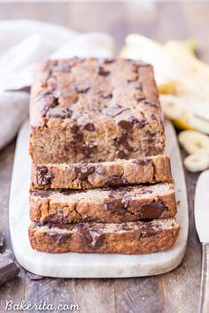 This Paleo Chocolate Chunk Banana Bread is sweetened only with bananas for a delicious, guiltless treat that's gluten free, grain free, and sugar free!