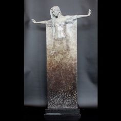 Ophelia, a limited edition, patinated figure of a dancer in long, draping robe by Michael James Talbot Set onto a granite plinth. Contemporary Sculpture, Bronze Sculpture, Antique Furniture, Talbots, Door Handles, Fine Jewelry, Draping, Antiques, Granite