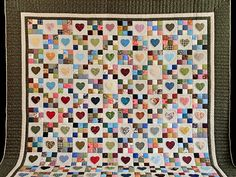 Hearts and Nine Patch Quilt -- wonderful meticulously made Amish Quilts from Lancaster (hs6911)