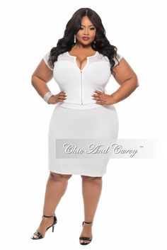 Final Sale Plus Size BodyCon 2-Piece Skirt and Top Mesh Set in  White
