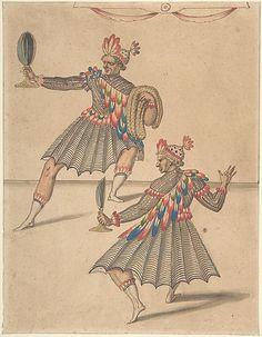 """Drawing of Two """"Americans"""" for Ballet de la Douairière de Billebahaut in 1626 by Daniel Rabel  (French, Paris 1578–1637 Paris)."""