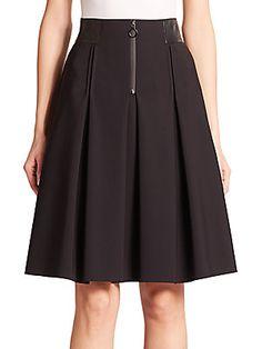 Akris Punto Neoprene High-Waist Pleated Full Skirt
