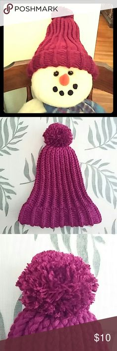 """Burgundy Hat Adorable handmade burgundy colored hat with matching pom pom, extra small.  Hat is approx. 8"""" wide at brim and 10"""" long from brim to pom pom. Handmade Accessories Hats"""
