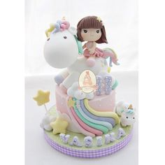 I like the idea of personalising the cake. A child would love this.especially as they are included in the cake Baby Birthday Cakes, Unicorn Birthday Parties, Little Pony Cake, Cake Ingredients, Girl Cakes, Cute Cakes, Handmade Decorations, Fondant Cakes, Themed Cakes