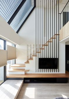 Tv in front of staircase