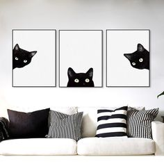 3 panel watercolor black cat wooden framed canvas painting nordic girl room home decor big scroll wall art picture poster hanger 3 Piece Canvas Art, Diy Canvas, Canvas Frame, Canvas Wall Art, 3 Piece Wall Art, Canvas Ideas, Canvas Size, Diy Apartment Decor, Rooms Home Decor