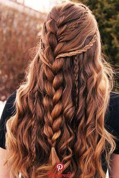Faux Hawk Style Half-Up Brown # Braids ❤ Sometimes it seems that . - Faux Hawk Style Half-Up Brown ❤ Sometimes it seems like - Bohemian Hairstyles, Pretty Hairstyles, Straight Hairstyles, Hairstyles Haircuts, Hairstyle Ideas, Hair Ideas, French Braid Hairstyles, Long Hairstyles With Braids, Easy Hairstyle