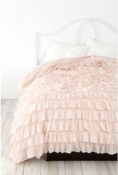 Waterfall Ruffle Duvet Cover.                      Saving money to buy this. Comes in 5 colors and I want it in pink, white, purple, and grey! Can't choose!