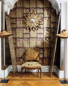 Elevate a nook with wallpaper and an eclectic mix of stuff.
