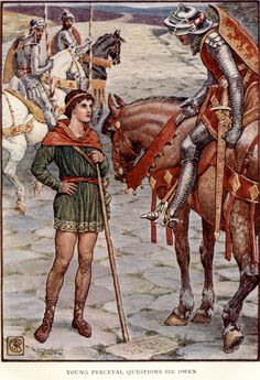 Young Perceval Questions Sir Owen by: Walter Crane (Artist) from: King Arthur's Knights: The Tales Retold for Boys and Girls (P. 168) -  1911