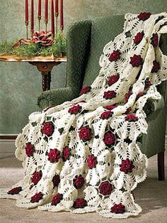 Motifs, panels and rows make up these beautiful Christmas Afghans. Snowflake Rose's motifs are join-as-you-go and create a stunning lacy snowflake; Christmas Flowers works up quickly using double-strands of yarn; and Peppermint Stripes brings to mind. Crochet Bedspread, Crochet Quilt, Afghan Crochet Patterns, Crochet Squares, Crochet Home, Crochet Motif, Crochet Crafts, Crochet Projects, Crochet Flowers