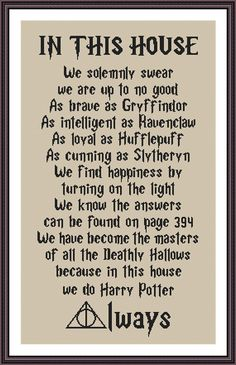 Harry Potter Funny Cross Stitch PDF Pattern In This House We