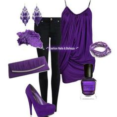I'm pretty sure this is to much of a good thing lol but the purple is indeed gorg! let's add a pop of green, or yellow to balance it.