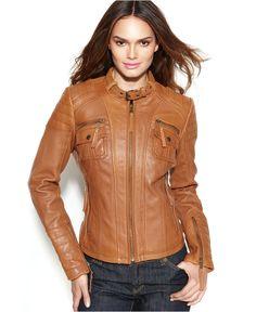 MICHAEL Michael Kors Coat, Leather Buckle-Collar Motorcycle Jacket - Coats - Women - Macy's