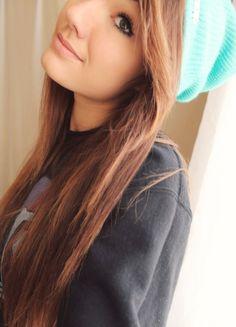 Pretty hair, pretty makeup, cute beanie:)
