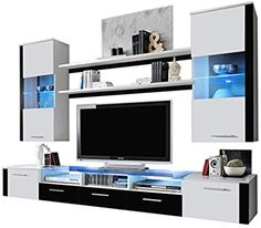 Ferio modern entertainment center wall unit tv stand with led lights, white Entertainment Center Wall Unit, Diy Entertainment Center, Tv Stand With Led Lights, Modern Wall Units, Website Design, Tv Cabinets, Tv Consoles, Living Room Furniture, Architecture