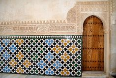 Moorish Architecture at the Alhambra in Granada Spain. 14th Century Palace
