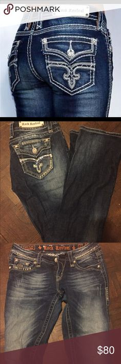 Rock Revival Dark Wash Jeans In great USED condition. Rock Revival Jeans Boot Cut