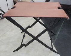 Folding Stool with leather seat