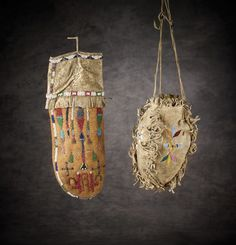 Two Sioux Beaded Bags. right: 4 panel girl's drop bag, sewn w/ wide outside seam allowances then fringed. Native American Artifacts, Native American History, Native American Indians, Native Beadwork, Native American Beadwork, Beaded Purses, Beaded Bags, Sioux, Medicine Bag