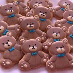 Ursinhos by Vanilla Art Cookies Baby Boy Cookies, Teddy Bear Cookies, Teddy Bear Party, Teddy Bear Birthday, Teddy Bear Baby Shower, Baby Birthday Cakes, Cookies For Kids, Baby Shower Cookies, Cute Cookies