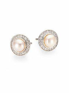 David+Yurman Pearl,+Diamond+&+Sterling+Silver+Button+Earrings