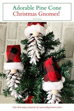 diy pine cone christmas gnomes on tree Pinecone Ornaments, Diy Christmas Ornaments, Handmade Christmas, Christmas Decorations, Christmas Gnome, Kids Christmas, Christmas Activities, Christmas Projects, Crafts For Kids