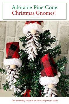 diy pine cone christmas gnomes on tree Pinecone Ornaments, Diy Christmas Ornaments, Handmade Christmas, Christmas Decorations, Christmas Gnome, Kids Christmas, Christmas Activities, Christmas Projects, Pine Cone Crafts