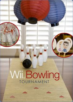 "Bowling party table runner - ""The table runner was a kitchen cabinet liner that looked like bamboo with red masking tape added for foul line and cut for direction arrows. The plastic bowling pins & ball are from Oriental Trading Company."""