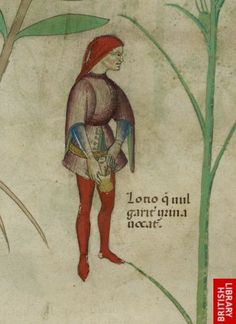 Detail of a miniature of a man urinating into a pot.   Origin:Italy, N. (Lombardy)