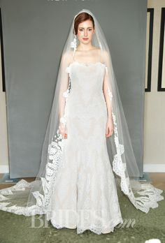 'Etienne' a gorgeous lace trumpet gown with crystal straps. Brides.com: Sareh Nouri - Spring 2015. Wedding dress by Sareh Nouri
