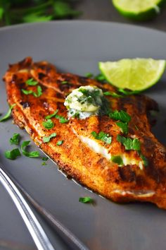 Blackened Catfish with Cilantro-Lime Butter Grilled blackened catfish topped with a cilantro, lime, and garlic compound butter.Grilled blackened catfish topped with a cilantro, lime, and garlic compound butter. Fish Dishes, Seafood Dishes, Seafood Recipes, Cod Recipes, Cream Recipes, Turkey Recipes, Icing Recipes, Ramen Recipes, Roast Recipes