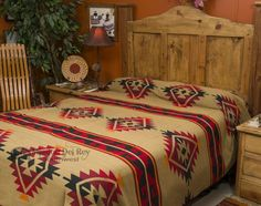 Classic western bedspreads are a perfect choice for rustic décor, and look especially beautiful with rustic furniture.  The beautiful designs and colors of western bedspreads make them a popular choice for decorating with southwest style, western ranch, lodge and Native American decor.  Our western bedspreads are reversible and come in twin, queen and king size. Give your room authentic western style with a colorful bedspread from our western bedspread collection.