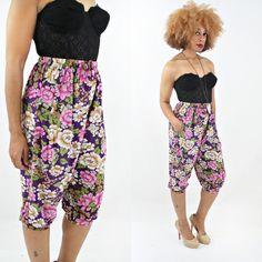 vintage 80s purple FLORAL high waisted HAREM pants by PasseNouveauVintage, $24.00