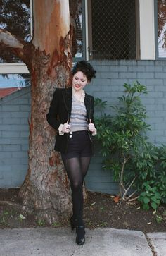 Esme in shorts, tights, and a gorgeous blazer