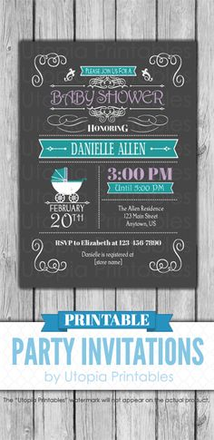 Items similar to Teal Purple Gray Baby Shower Invitation Buggy Carriage Fancy Elegant Vintage Style Party Theme Digital Printable Customized Grey Aqua Blue on Etsy Printable Baby Shower Invitations, Diy Invitations, Baby Shower Printables, Baby Shower Purple, Purple Baby, Aqua Blue, Blue Grey, Baby 2017, Dark Grey Background
