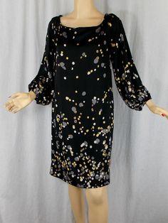 Diane Von Furstenberg Silk Jersey Dress 10 Night Sky Ombre Black Ink Spot Print  #DVF #Sheath #LittleBlackDress