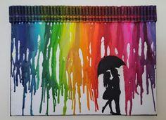 Rainbow rain crayon art von PikaCreation auf Etsy