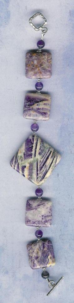 Bracelet - Flower Jasper, Amethyst, Sterling Silver by ChicStatements on Etsy