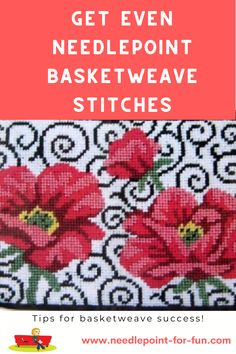 Needlepoint basketweave stitch can be tricky to navigate, especially in irregularly-shaped spaces. Get some tips and tricks for even basketweave stitches. Needlepoint Stitches, Needlepoint Pillows, Needlepoint Kits, Needlepoint Canvases, Needlework, Cross Stitch Needles, Cross Stitch Embroidery, Cross Stitch Patterns, Japanese Quilt Patterns
