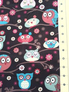 Owls on a branch 100% cotton novelty Fabric. $14,99, via Etsy.