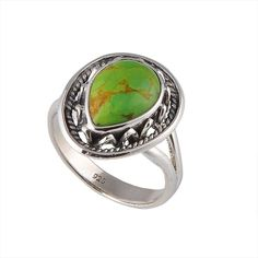 DESIGNER 925 STERLING SILVER GREEN MOHAVE TURQUOISE 4.69g FANCY RING JEWELLERY #Handmade #RING