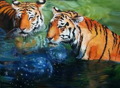Original Oil Painting of Tigers LARGE by RayvenCollinsFineArt.  Would make a great Watercolor