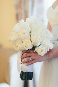 White rose hand tied bouquet for a winter wedding! Vandella roses add a touch of cream!
