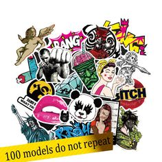 50 100pcs Stickers for Quadcopter Drone laptop skateboard guitar suitcase Waterproof DIY Accessory Skull Rock punk Free Shipping