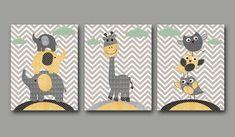 Baby Boy Nursery art print Childrens Wall Art Baby Room Decor Kids Print Nursery Decor Boy set of 3 11x14 Owls giraffe elephants yellow grey. $60.00, via Etsy.