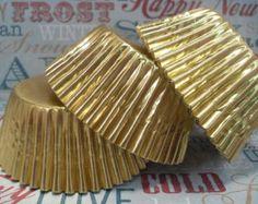 100 Gold Shimmer Cupcake Liners Gold Shimmer by BakersBlingShop