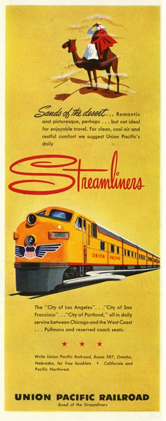 Union Pacific's Streamliners in the Desert ~ 1950