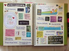 art journal inspiration - original pinner sez: Katie's smash book pages 7 and 8. Inspirational Quotes.