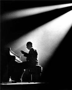 """""""I merely took the energy it takes to pout and wrote some blues."""" — Duke Ellington • Photographed by Herman Leonard • Olympia Theatre, Paris, France • 1960"""